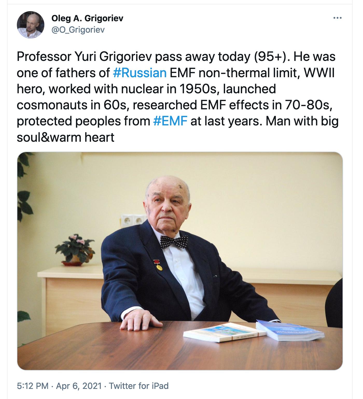 Oleg Grigoriev Tweet on Yuri Grigoriev