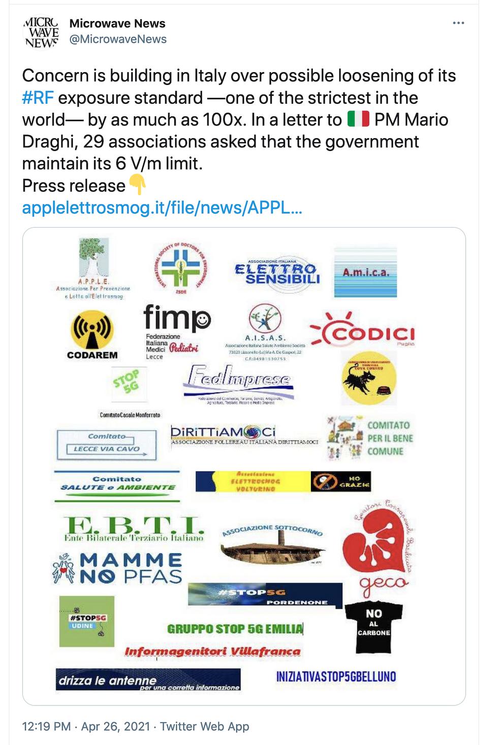 Microwave News Tweet on Italy 6 V/m Limit, Pt1