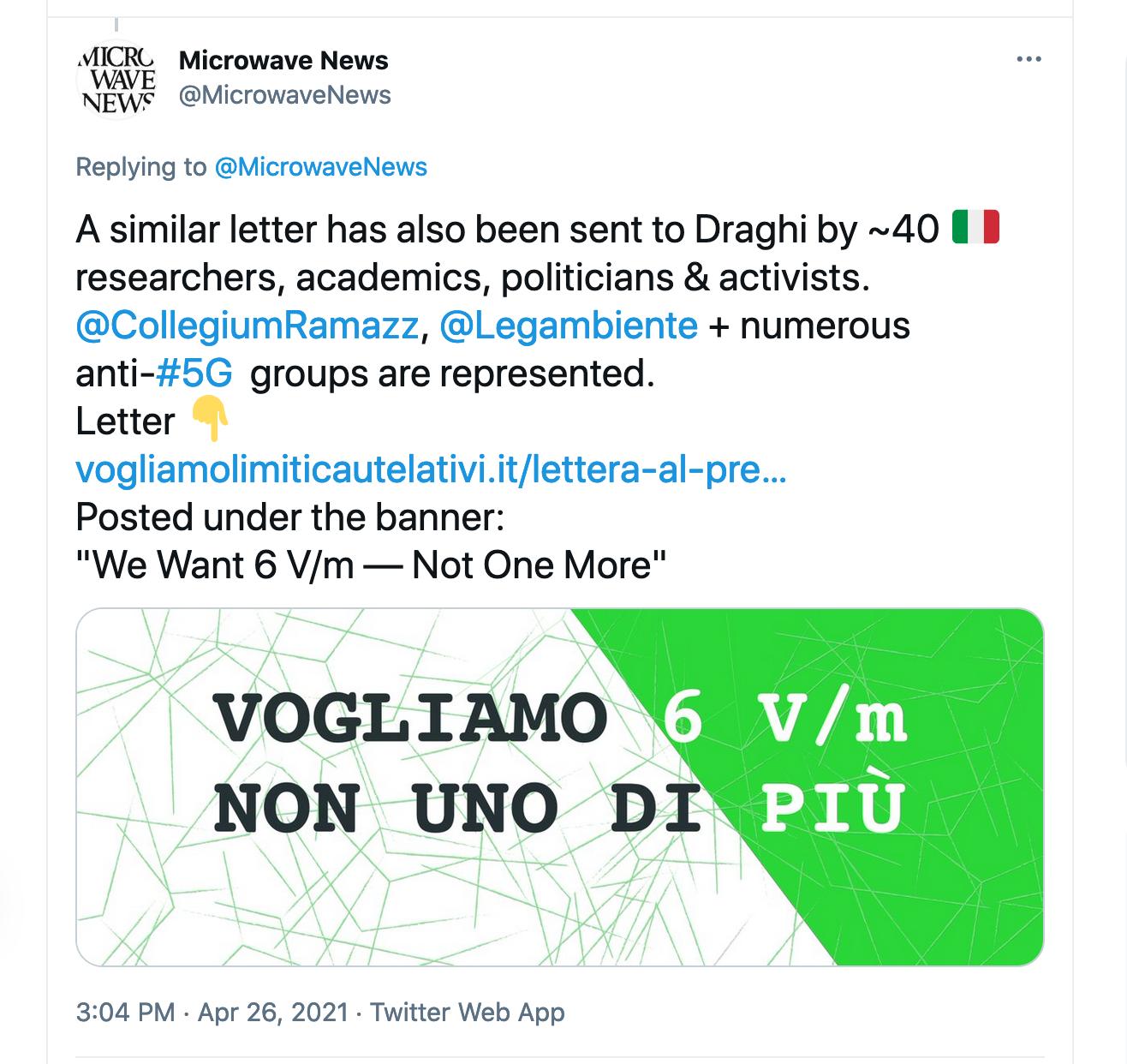 Microwave News Tweet on Italy 6 V/m Limit, Pt2