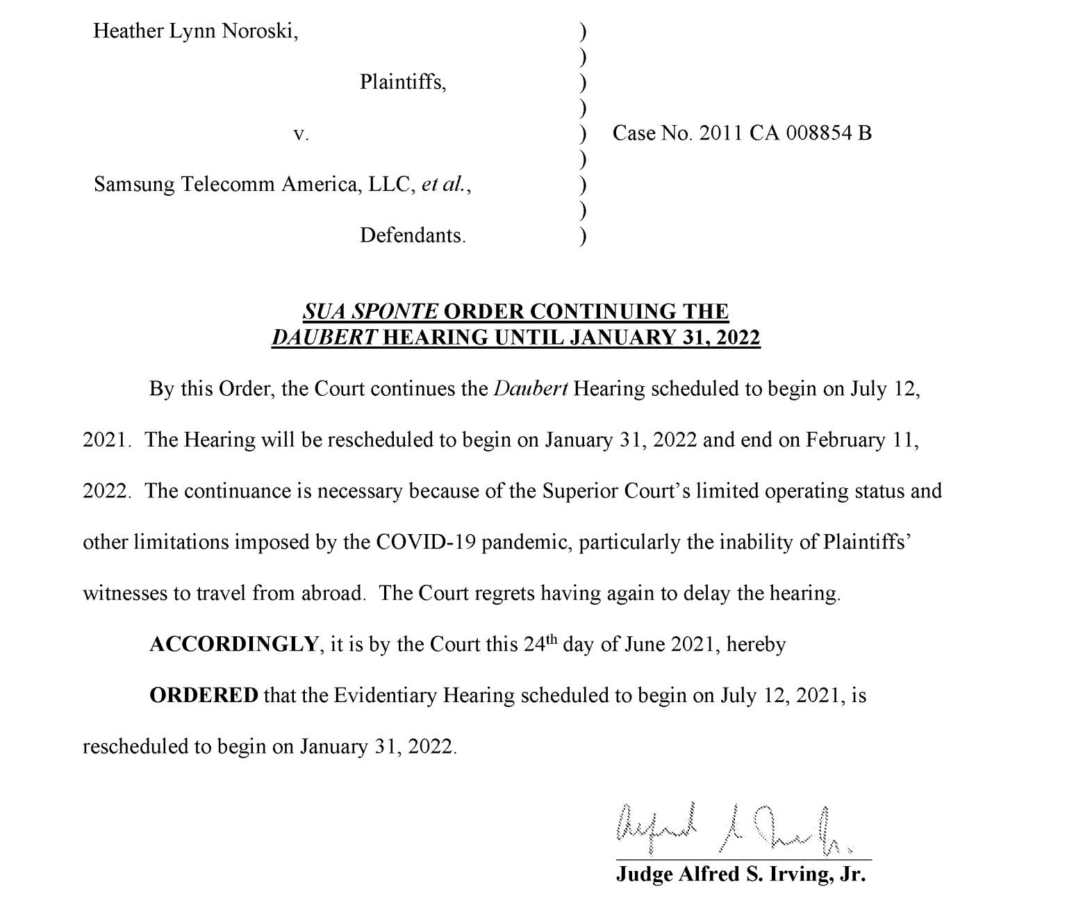 Judge Irving Daubert Delay Order