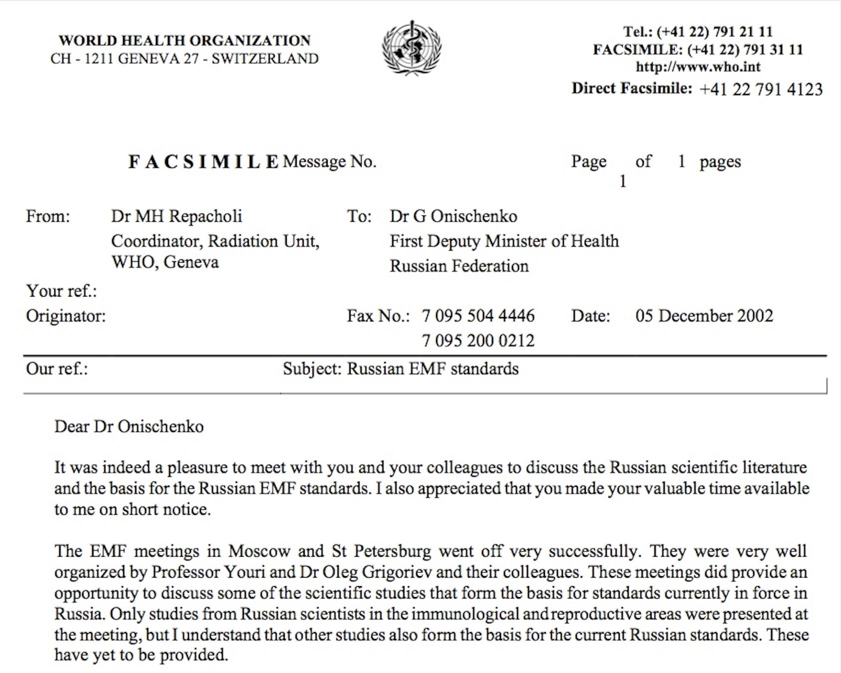 Fax from M repacholi to G Onischenko 2002