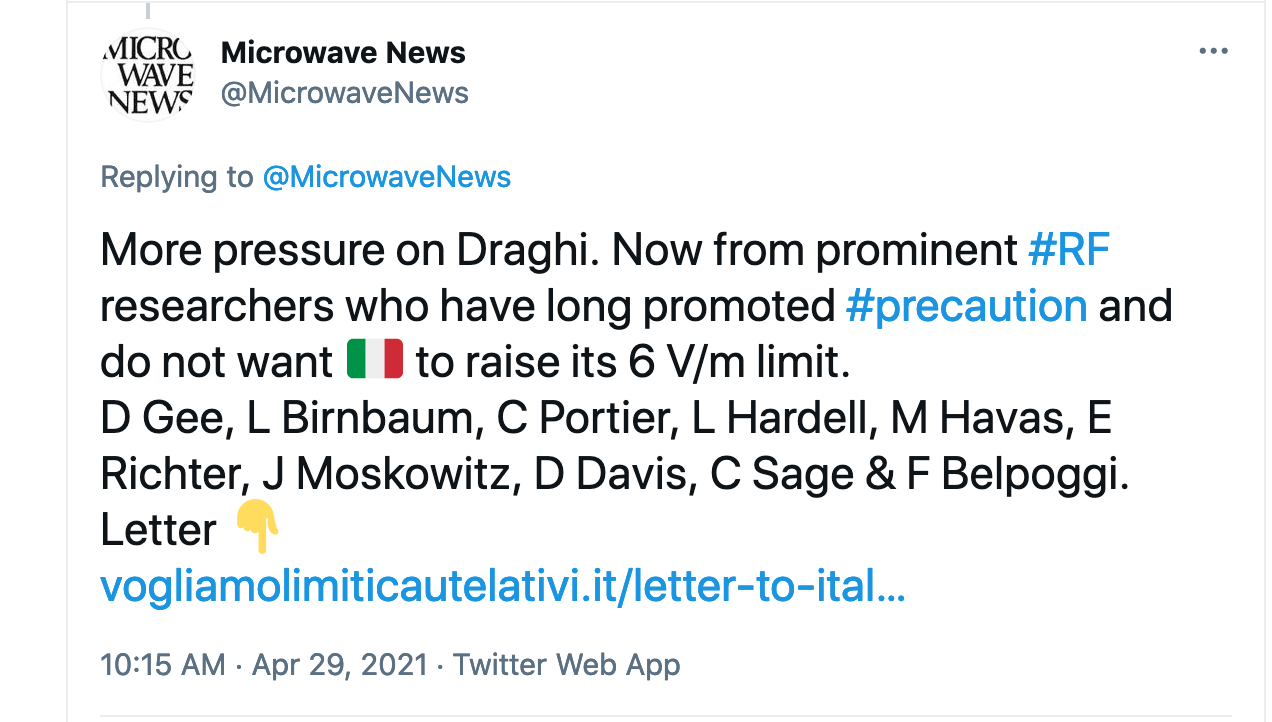 Microwave News Tweet on Italy 6 V/m Limit, Pt3